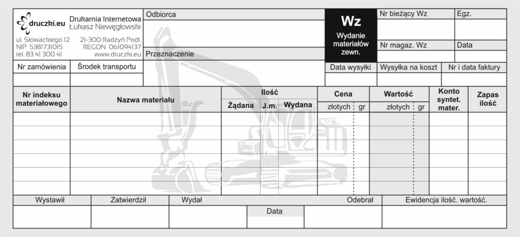 Druk WZ dla firm budowlanych i usługowych