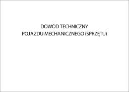 Dowód techniczny pojazdu mechanicznego (sprzętu)
